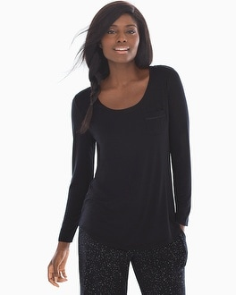 Embraceable Cool Nights Long Sleeve Satin Pocket Pajama Tee Black