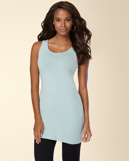Pima Cotton Tunic Layering Tank Ether Blue