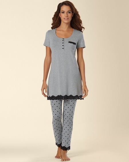 Cool Nights Sleep Tee Pajama Set Winsome Dot Gray
