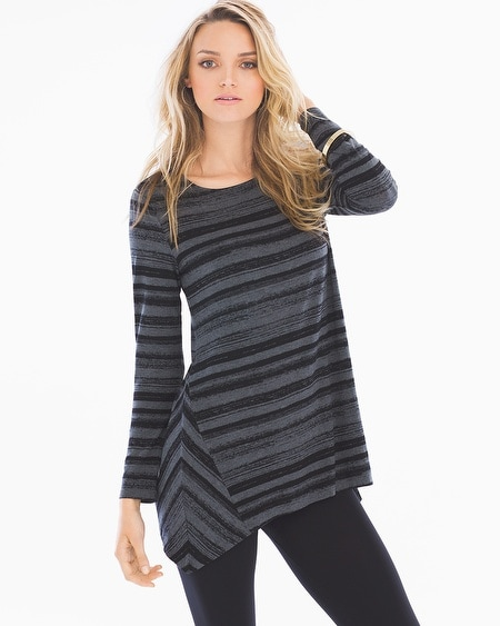 Long Sleeve Scarf Hem Tunic Glaze Stripe Heather Quartz