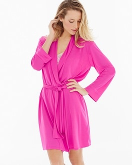 Natori Slinky Short Robe Passion Pink