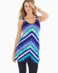 Live. Lounge. Wear. Soft Jersey Tunic Tank Horizon Stripe Royal