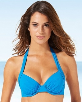 Tommy Bahama Contour Cup Halter Swim Bikini Top Sailor Blue