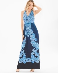 Sleeveless Cross Back Maxi Dress Paisley Di Mare