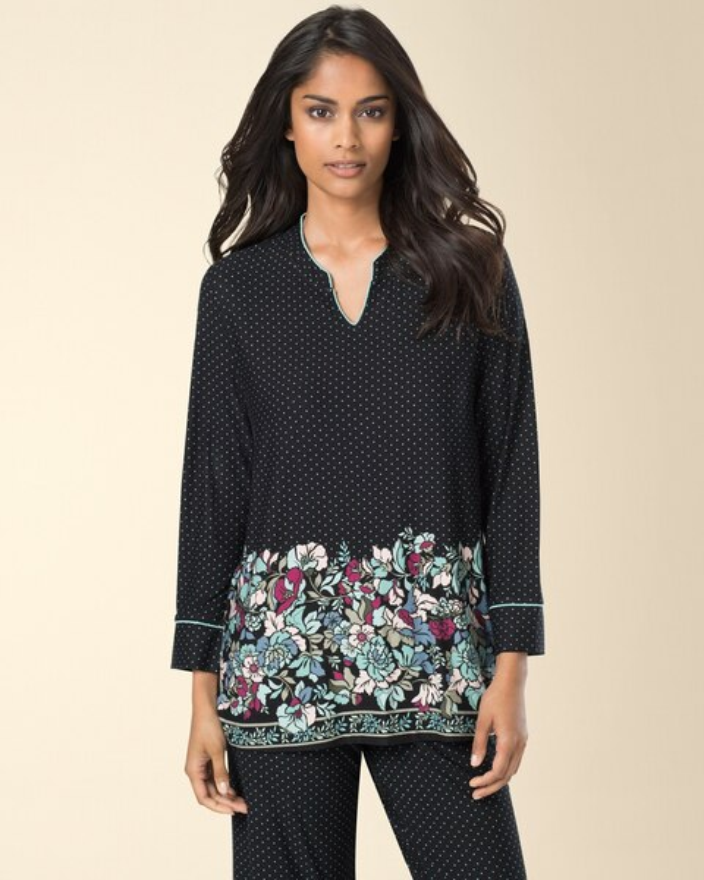 f5df30dc02 Long Sleeve Popover Pajama Top Abundant Floral Black Border - Soma