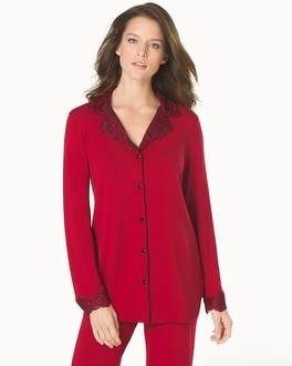 Limited Edition Sensuous Scroll Notch Collar Pajama Top Ruby With Ruby Lace