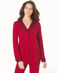 Limited Edition Cool Nights Sensuous Scroll Notch Collar Pajama Top Ruby With Lace