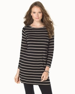 Live. Lounge. Wear. Soft Jersey Striped Boatneck Tunic Energy Stripe Black