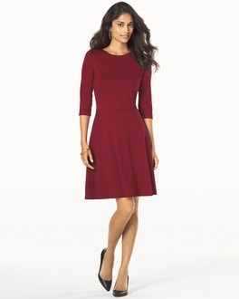 Leota 3/4 Sleeve Fit and Flare Dress Burgundy