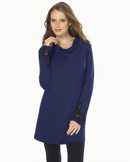 Live. Lounge. Wear. Fleece Tunic with Lace Applique Navy