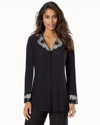 Alluring Satin and Lace Adorned Button-front Pajama Top Black Ivory Lace
