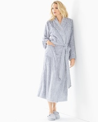 Embraceable Luxe Marble Long Robe Silver Diamond W/Black