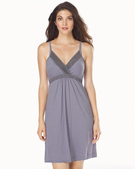Striped Nursing Chemise Gray/Lilac