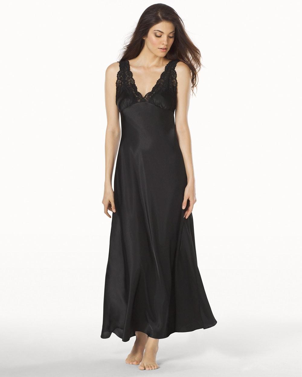 Taylor Long Satin Nightgown Black - Soma