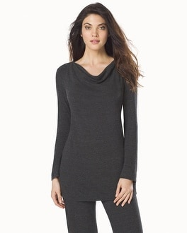 Natori Cosi Long Sleeve Cowl Neck Top Charcoal