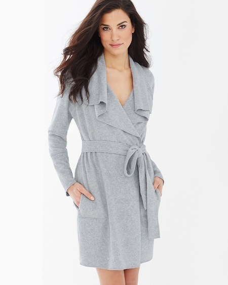 Baby Terry Cotton Blend Short Robe Heather Grey