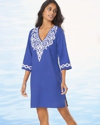 Cotton Embroidered Tunic Cover Up Royal Blue