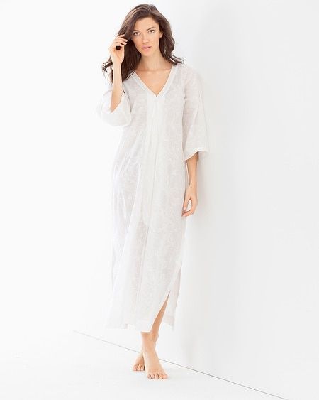 Embroidered Cotton Long Robe White With White Embroidery