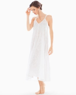 Oscar de la Renta Embroidered Cotton Nightgown White With White Embroidery