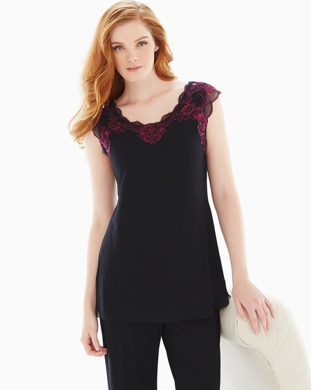 Lace Short Sleeve Pajama Top Black/Honeysuckle