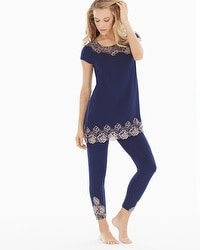 Oh My Gorgeous Tunic Pajama Set Navy/Light Nude