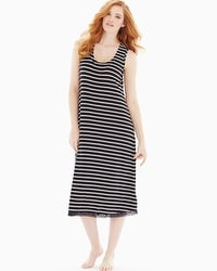 Embraceable Cool Nights Sleeveless Long Sleepshirt True Stripe Black