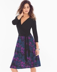 Leota Wrap Front Short Dress Black/Raven Floral