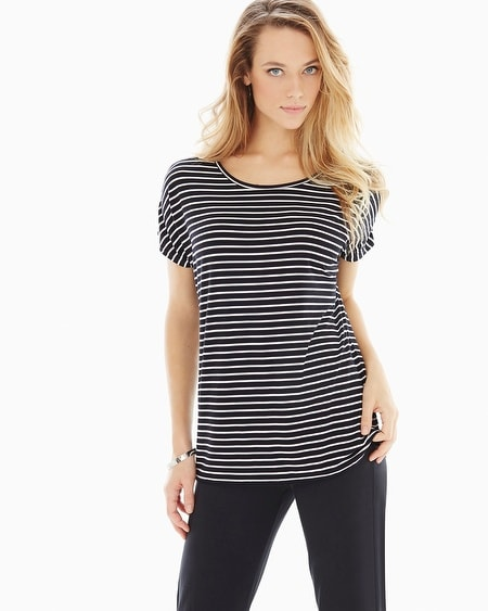 Soft Jersey Crochet Back Top Pure Stripe Black