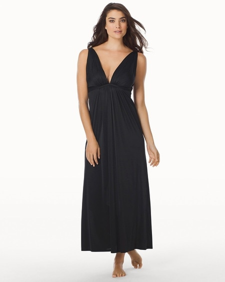 Aphrodite Silky Long Nightgown Black