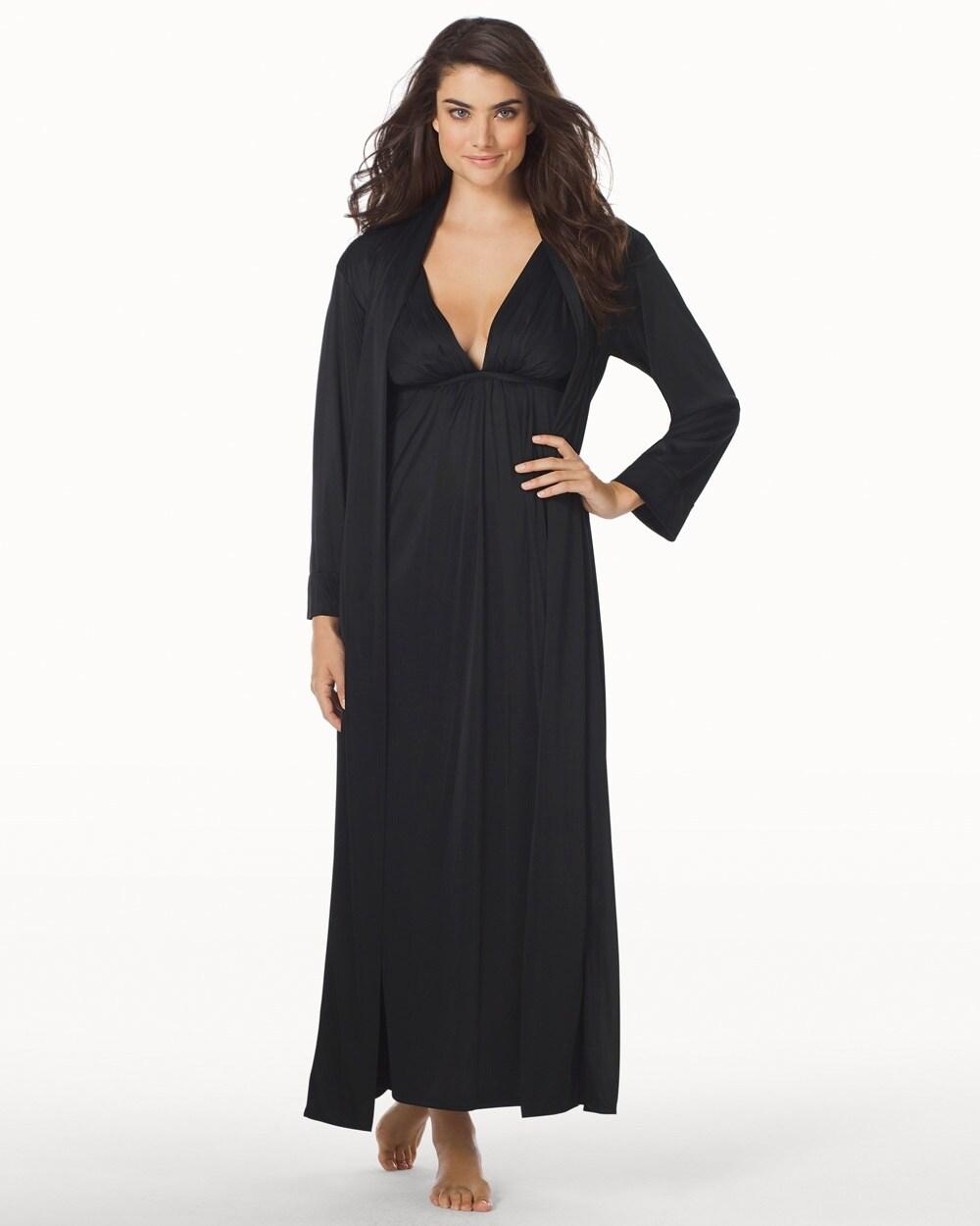 Aphrodite Silky Long Nightgown Black - Soma