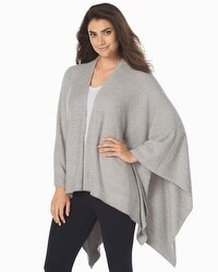 Barefoot Dreams Chic Lite Weekend Blanket Wrap Heathered Pewter/Pearl