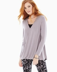Live. Lounge. Wear. Soft Jersey Wrap Top Smokey Taupe