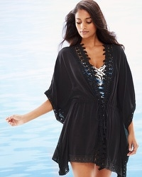 La Blanca Costa Brava Crochet Trim Kimono Swim Cover Up Black