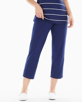Premium Cotton Crop Pants Navy