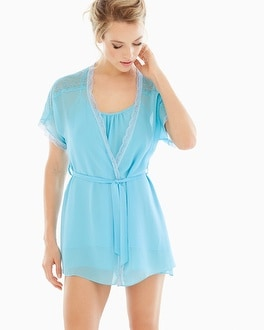 In Bloom Camilla Short Robe Aqua