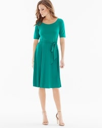 Elbow Sleeve Fit and Flare Dress Parasail