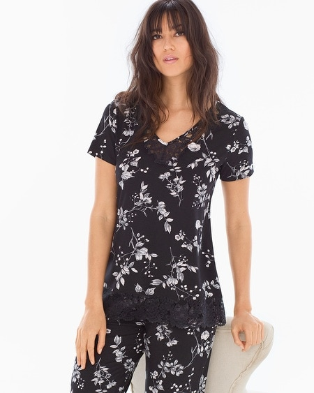 Lace Trim Short Sleeve Pajama Top Floral Faire Black