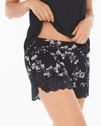 Cool Nights Lace Trim Pajama Shorts Floral Faire Black