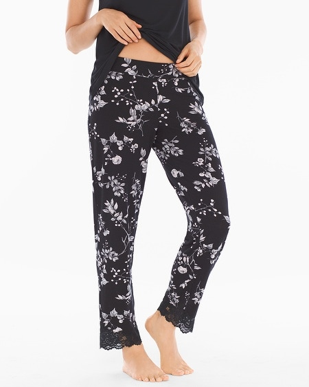 Lace Trim Ankle Pajama Pants Floral Faire Black