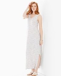 Premium Cotton Tank Maxi Dress Amazing Stripe Taupe