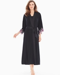 Limited Edition Sensuous Lace Floral Tea Length Robe Black/Orchid Bloom