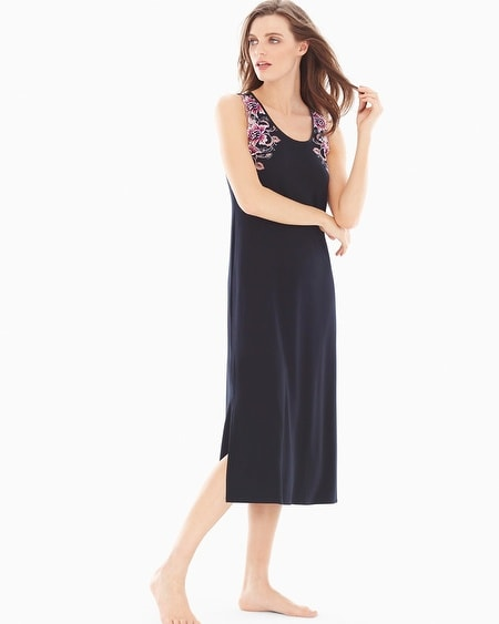 Sensuous Lace Floral Tea Length Nightgown Black/Orchid Bloom