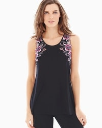 Limited Edition Sensuous Lace Floral Pajama Tank Black/Orchid Bloom
