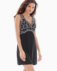 Coastal Floral Lace Sleep Chemise Black/Smokey Taupe