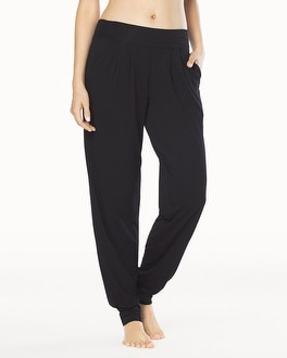 Naked Tencel Banded Bottom Pleated Pants Black