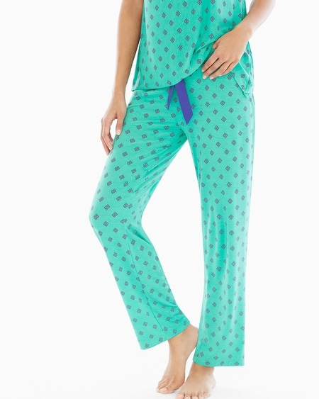 Ankle Pajama Pants Paisley Array Geo Ocean