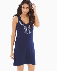 Cool Nights Sleeveless Sleepshirt Embellished Navy Placement