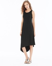 Asymmetrical Midi Dress Black