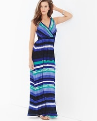 Surplice Sleeveless Maxi Dress Horizon Stripe Royal