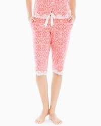 Embraceable Cool Nights Crop Pajama Pants Island Scroll Coral Hype